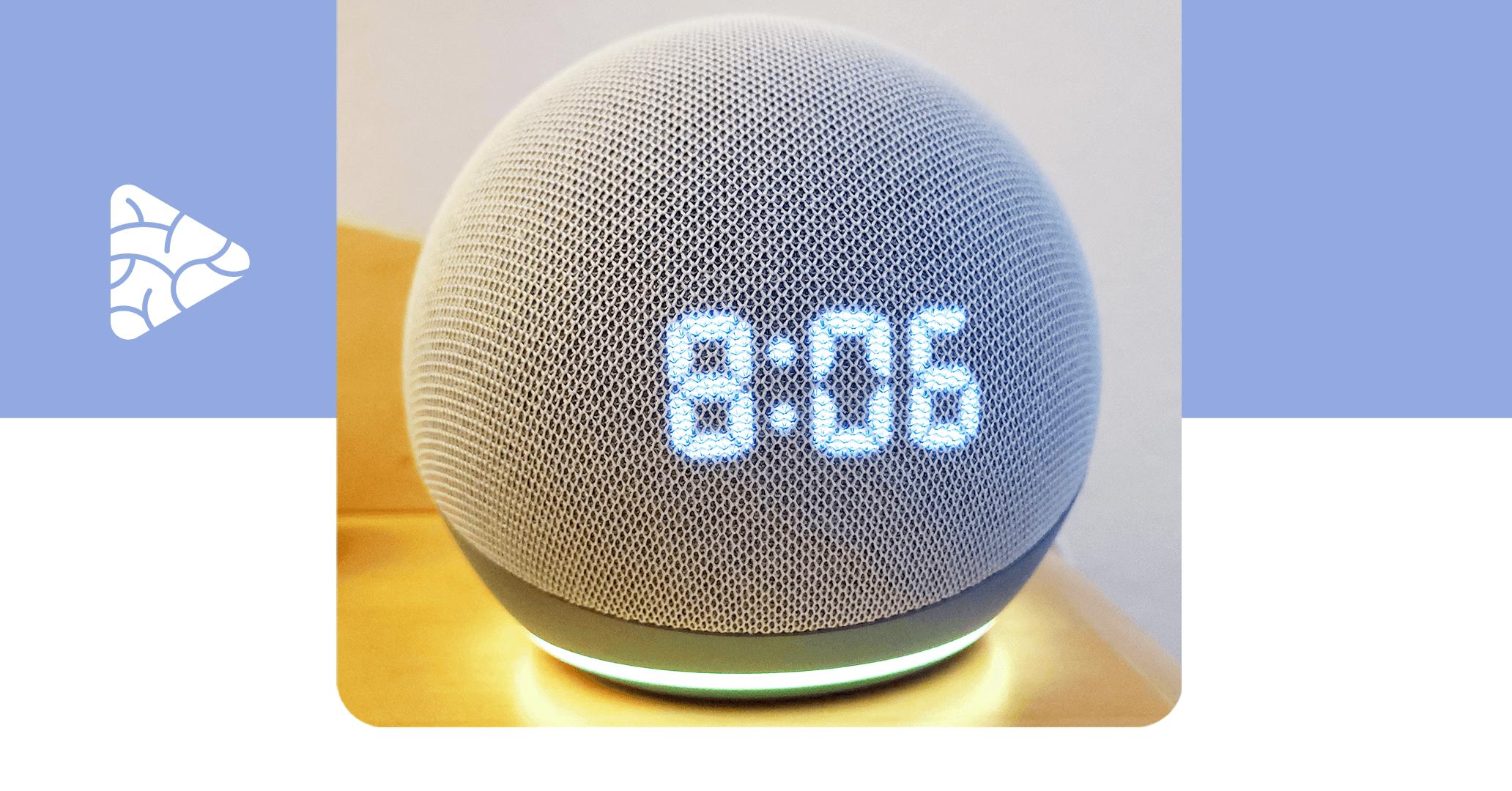 Foto de um dispositivo auto falante inteligente, conhecido como Alexa, representando a internet das coisas.