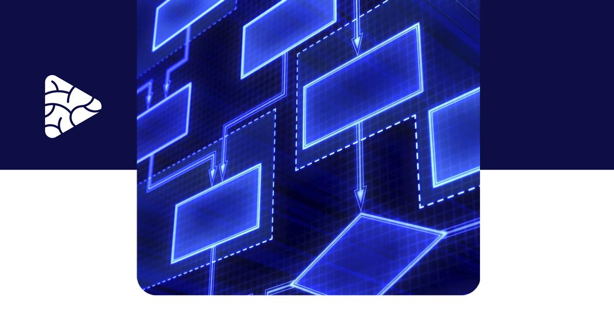 Foto de um fluxograma na cor azul neon, representando a metodologia Scrum of Scrums.