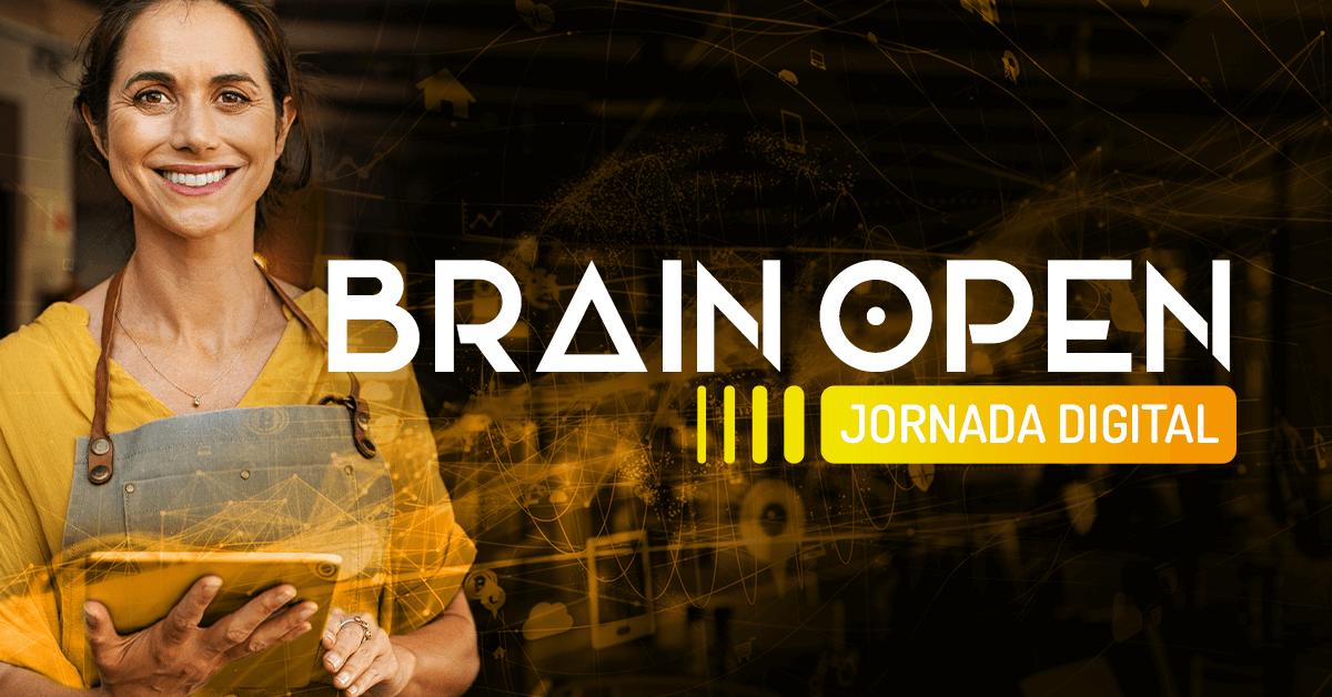 Imagem de uma mulher segurando um tablet e o texto Brain Open Jornada Digital.